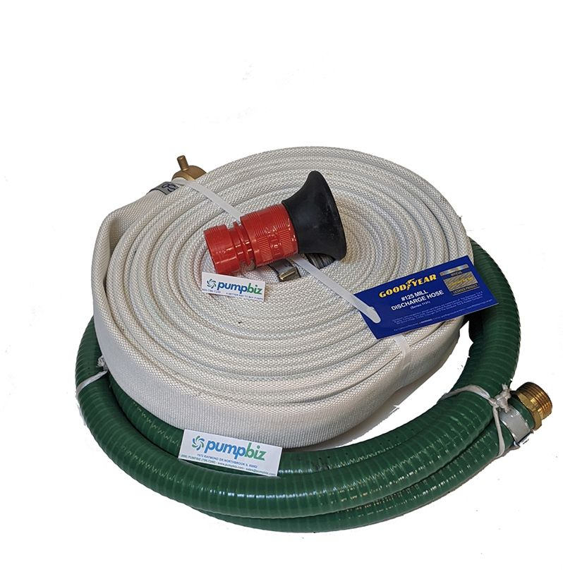 portable fire pump water hose kit and nozzle